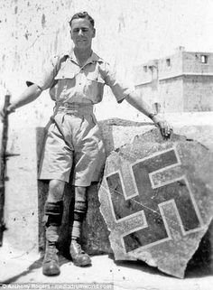 The battle for Malta. A Royal Irish Fusilier is pictured proudly posing with a Swastika-clad trophy from the downed Luftwaffe Ju 87 of which the battalion claimed to have shot down on 11 April Old Pictures, Old Photos, Wellington Bomber, Malta Italy, Malta History, George Cross, Malta Island, Princess Victoria, Luftwaffe