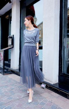 Set: Rhinestone Elbow-Sleeve Knit Top + Maxi Tulle Skirt - Tang House | YESSTYLE
