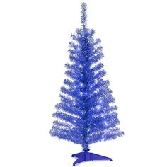 National Tree 4 Foot Blue Tinsel Tree with Plastic Stand and 70 Clear Lights (TT33-307-40) => SUPERB BEST OFFER! : Christmas Trees