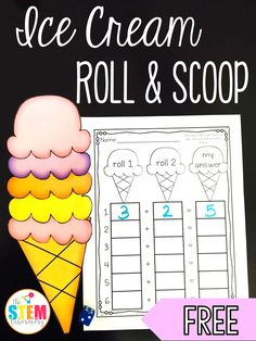 Fun addition and subtraction game for kids! Ice Cream Roll and Scoop. Great math center idea!