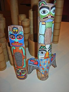 Totems taped onto empty cardboard rolls #crafts #DIY