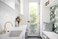 LITTLE WILLOW — Adore Home Magazine Laundry Room Design, Laundry In Bathroom, Laundry Cupboard, Laundry Rooms, Design Kitchen, Royal Oak Floors, Penny Round Tiles, Beaumont Tiles, King Furniture