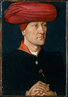 Portrait of a Man in a Turban  Netherlandish Painter, second quarter 15th century, oil on wood. The averted gaze of this self-assured young man suggests that he once was paired with a portrait of a woman. He holds a pink as a sign of his betrothal; his fiancée may have held a ring.