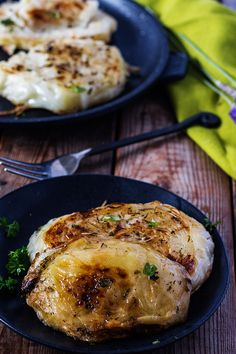 Delicious Roasted Cabbage Steaks is a delicious way to serve cabbage. Thick slices of cabbage rubbed with parsley, sage, rosemary and thyme. So delicious!