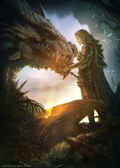 ArtStation - Elf warrior & the dragon, Istvan Straban