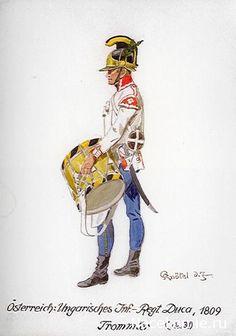 1809 Austrian - Hungarian Line Infantry Regiment Drummer. Napoleonic Wars -  Plates. nacekomie.ru