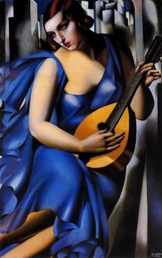 "Blue Woman with a Guitar by Tamara de Lempicka (1898–1980). ""Lempicka perhaps epitomized the Art Deco movement with her strong use of geometric elements, vivid colors, and semi-classical subjects. also, you can understand a lot about her aesthetic approach if you keep in mind her utter disgust at the vast body of Impressionism and her love of Picasso."""