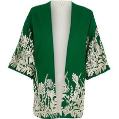 River Island Green floral embroidered kimono ($92) ❤ liked on Polyvore featuring accessories, capes & ponchos, green, women, style poncho, open front poncho, river island, green poncho and woven poncho