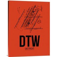 "Naxart DTW Detroit Airport Graphic Art on Wrapped Canvas Size: 32"" H x 24"" W x 1.5"" D"