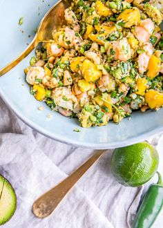 This easy + healthy Thai Coconut Shrimp Ceviche Recipe is made with juicy mango and avocado salsa; the best spicy summer salad. Paleo and gluten-free, too!