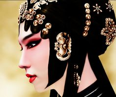 A beautiful Chinese girl are preparing for a part in Peking Opera…
