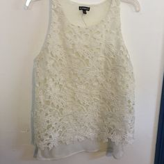 Express sheer floral tank top-NWOT Brand new without tags. This top is perfect for spring and summer. It's got a sheer chiffon under layer and a floral lace over. It's perfect to throw of a cute bralette or swimsuit. In fact if you purchase this one I'll bundle a bralette or swim top for $36 dollars. This top would also be great at coachella or edc. Can be dressed up or down or layered. You will be grabbing this one all the way into fall. Express Tops Tank Tops