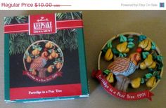 vintage handcrafted hallmark keepsake partridge in a pear tree christmas ornament 1991 pear treestwelve days