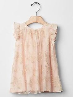 936d465a121 Gap Baby Girl Size 0-3 Months Pink   Gold Metallic Lace Flutter Party Dress  for sale online