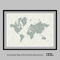 Travel quote map of the world print   world map print   housewarming gift   new home gift   traveler print   travel poster by elevencorners on Etsy #elevencorners #travelquotes