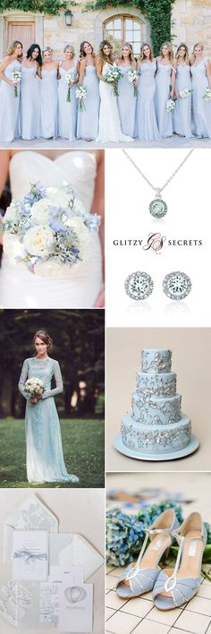A perfect color scheme for winter and summer seasons, a pale blue and silver wedding theme brings a touch of elegance with shimmering sparkle