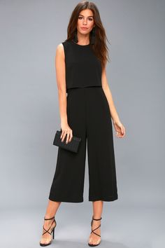 All of your wildest dreams are easily achieved in the Glam-bition Black Backless Jumpsuit! Woven poly falls from a flounce bodice top to an open back. Office Outfits, Casual Outfits, Fashion Outfits, Work Outfits, Schwarzer Overall Outfit, Black Jumpsuit Outfit, Culottes Outfit Work, Moda Fashion, Womens Fashion