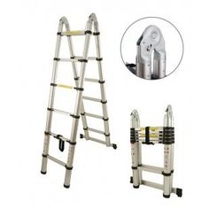 TELESCOPIC LADDTELESCOPIC LADDER WITH STABILIZER BARER WITH STABILIZER BAR