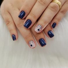130 creative navy nail art designs to inspire you – page 15 Navy Nail Art, Navy Nails, Gel Nail Art, Gel Nails, Perfect Nails, Gorgeous Nails, Acrylic Nail Designs, Nail Art Designs, Short Square Nails