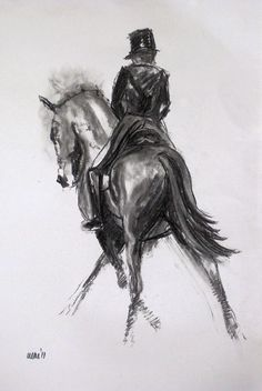 Beautiful Equine horse dressage LE print 'Cross Hatch' from an charcoal sketch by Heather Irvine individually signed