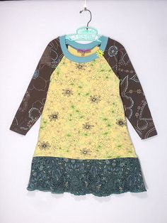 Upcycled OOAK Girl's Size 6  TShirt Dress Floral by TwoSweetMamas, $35.00