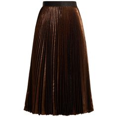 Christopher Kane Pleated silk-blend A-line skirt ($775) ❤ liked on Polyvore featuring skirts, copper, metallic skirt, brown a line skirt, knee length a line skirt, knee length pleated skirt and metallic a line skirt