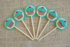 Blue Felt Cupcake Cupcake Topper Birthday