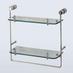 Novel - Solid Brass 2-Tier Glass Shelf