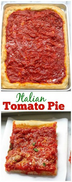 Pie Italian Tomato Pie - Surprisingly simple to make and SO delicious! A MUST PIN for pizza lovers!Italian Tomato Pie - Surprisingly simple to make and SO delicious! A MUST PIN for pizza lovers! Sicilian Pizza Recipe, Tomato Pizza Pie Recipe, Tomato Sauce, Pizza Recipes, Cooking Recipes, Sandwiches, Pizza Dough, Pizza Pizza, Crack Crackers