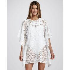 Women's Oscar de la Renta Short Crochet Coverup Caftan $1,290