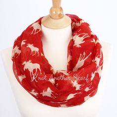 Red Moose Infinity Scarf Woodland Scarf Red Scarf Boho Scarf by knotanotherscarf on Etsy https://www.etsy.com/listing/220134486/red-moose-infinity-scarf-woodland-scarf