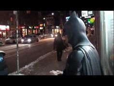 """Batman treats Toronto like it's Gotham City. The """"Toronto Batman"""" yells at everything and everyone that gets in his way. See the video after the jump. I Started A Joke, Geek Humor, Gotham, Night Out, Toronto, First Love, Geek Stuff, Hilarious, Jokes"""