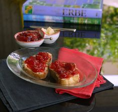 μαρμελάδα φράουλα Strawberry Jam, Waffles, Recipies, Deserts, Lemon, Chocolate, Fruit, Breakfast, Sweet