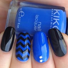 Blue and black zigzag nails