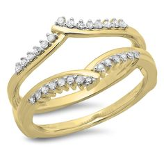 0.25 Carat (ctw) 14K Gold Round Diamond Ladies Anniversary Wedding Enhancer Guard Double Ring 1/4 CT -- Quickly view this special  product, click the image : Wedding Ring Enhancers