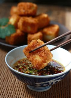 Low FODMAP Recipe and Gluten Free Recipe - Fried Tofu with Sesame-Soy Dipping Sauce (update) http://www.ibs-health.com/low_fodmap_fried_tofu_sesame_soy.html