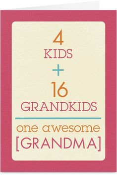 Grandma Equation Mother's Day Card. Could also be a great fathers day card for grandpa!