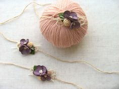 Newborn Purple flower, Newborn tieback, Baby Headbands , Newborn Headband , Baby Photography props , Newborn Photography props ,