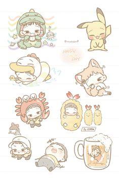 Chen Exo Stickers, Kawaii Stickers, Cute Stickers, Kpop Drawings, Kawaii Drawings, Cute Drawings, Exo Anime, Anime Chibi, Kpop Exo
