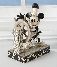 Disney Traditions Steamboat Willie Black White Mickey Mouse Figurine | eBay