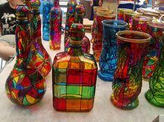 Fika to Dika - For a Better World: Decoration Glass Bottle Empty Wine Bottles, Wine Bottle Art, Diy Bottle, Bottles And Jars, Glass Jars, Stained Glass Paint, Stained Glass Projects, Glass Painting Designs, Glass Bottle Crafts