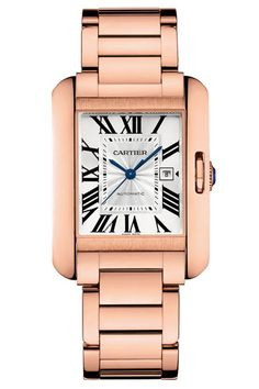 Rose gold Cariter timepiece. Visit London Jewelers Americana Manhasset for more Cartier timepieces or call 516 627 3200 to speak to a store representative.