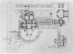 Darwin D. Martin House Complex, 1904, Buffalo, New York :: An early floor plan of the complex, including the Barton House (Martin's sister's home) on the lower right corner...