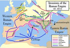 26. How the Barbarian Invasions reshaped Europe in the third, fourth and fifth centuries. The Huns of far-Eastern Europe and Central Asia invaded Central Europe, destroying the Gothic kingdoms. Germanic tribes conquered much of Spain and North Africa. And, of course, the Visigoths of southeastern Europe sacked Rome in 410 C.E. All of this destroyed the Roman Imperial system, starting the dark ages. But it also sparked mass migrations throughout Europe.