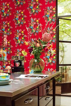Red Dutch Painters Wallpaper by Pip StudioColour RedBeautifully printed, featuring vibrant floral bouquets, this pattern sits on a fabulously rich contrasting background. This wallpaper has a lightfast finish, is simple to remove - even after one year and it has a washable surface, so it ideal for any room. All designs with a repeat can be extended without limitation with the same design (either left or right) with a matching pattern repeat. This also concerns the same number of panels as…
