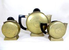 Art Deco Streamline Moderne Brass & Bakelite 3pce 'Moon Vase' Teaset 1930s
