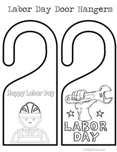 labor day is right around the corner have a little fun with your kids with these labor day door hangers for them to color