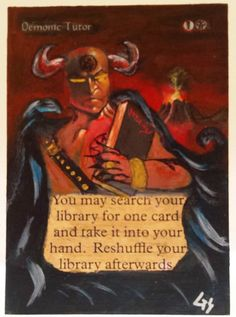 MTG Altered Art Demonic Tutor Collectors Edition Hand Painted Full Art OOAK Card #WizardsoftheCoast  Ooohhh Scary~