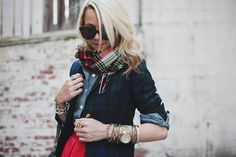 Love a blazer with the sleeves rolled/pushed up. The two contrasting classic plaids are cute too -- nice reinvention of traditional pieces.
