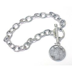 American Coin Treasures Sterling Silver 'Year To Remember' Dime Coin Toggle Bracelet (1951), Women's, Size: 7.5 Inch